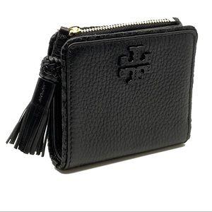 Tory Burch Taylor Mini Wallet Black Pebble Leather